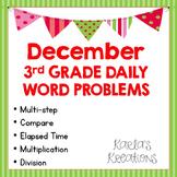 NO PREP DECEMBER 3rd Grade Daily Word Problems