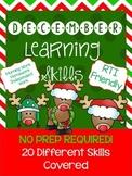 *NO PREP* December Learning Skills Pack for Pre-K4 and Kindergarten
