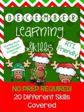 *NO PREP* December Learning Skills Pack for Pre-K4 and Kin