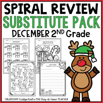NO PREP December Substitute/Review Pack {2nd Grade}
