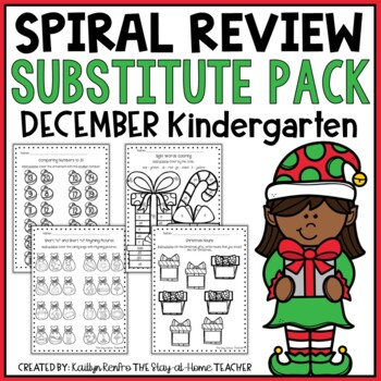 NO PREP December Sub Plans/Review Pack {Kinder}