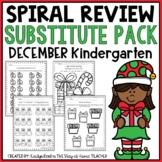 Sub Plans - NO PREP Worksheets for December {Kinder}