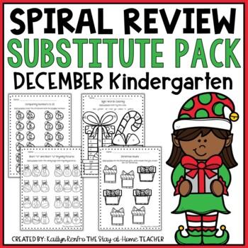 Sub Plans - NO PREP Review Worksheets for December {Kinder}