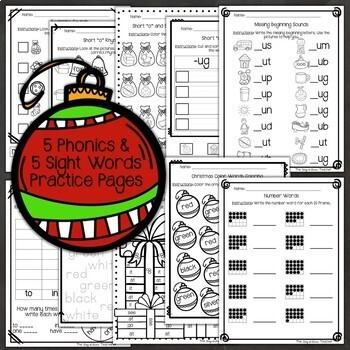 Sub Plans NO PREP Review Worksheets for December Kindergarten