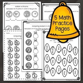 Sub Plans NO PREP Review Worksheets for December Kindergarten