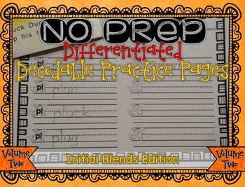 NO PREP Differentiated Decodable Printables VOLUME 2: Initial Blends