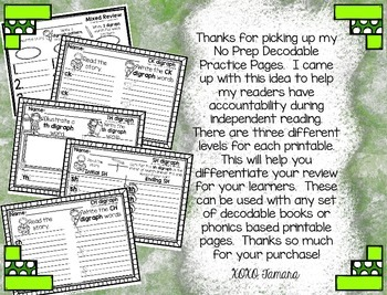 NO PREP Differentiated Decodable Printables VOLUME 3: Digraphs
