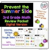 NO PREP Digital Third Grade Math Review- Prevent the Summer Slide Skills Packet
