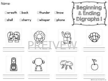 NO PREP Digraph Worksheets 3 - Choose and Write!!