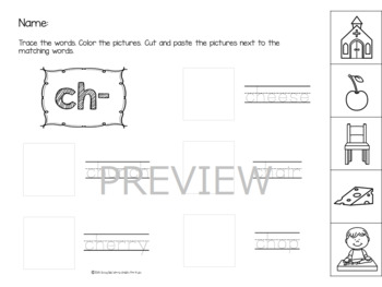 NO PREP Digraph Worksheets 4 - Cut and Paste!!