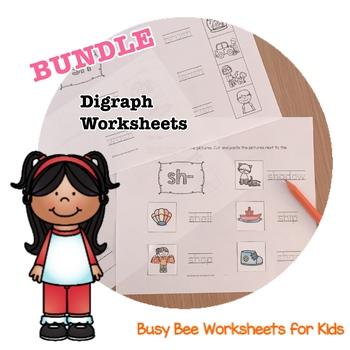 BUNDLE!! NO PREP Digraph Worksheets