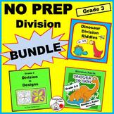 DIVISION PROBLEMS PRACTICE BUNDLE $$$ Riddles  Color Dinos & Designs   Gr. 3