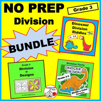 DIVISION PROBLEMS PRACTICE | BUNDLE | Riddles | Color Dino