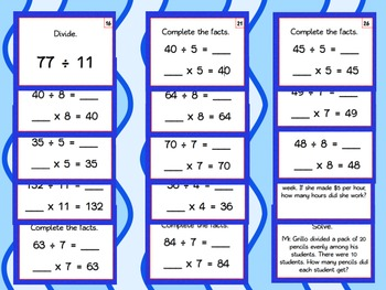 Division Task Cards (Basic Facts and Word Problems) - LOW/NO PREP ACTIVITIES