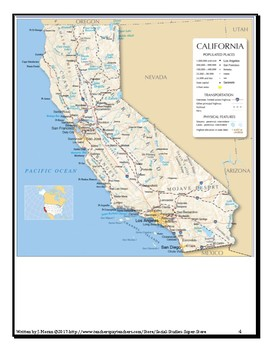 NO PREP Elementary California Map Close Reading and Crossword