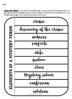 NO PREP Elements of a Mystery Unit  with Interactive Notebook activities