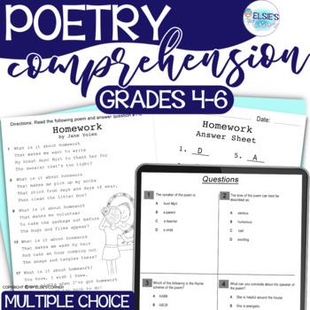 Poetry - Reading Test Prep - grades 4-6 - Common Core Aligned - NO PREP