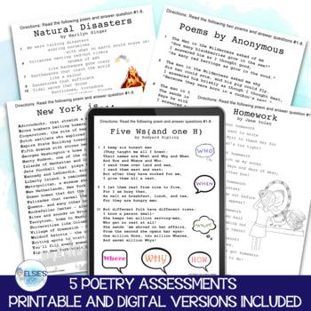 Poetry Tests - grades 4-6 - Common Core Aligned - Test Prep