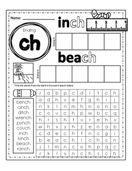 NO PREP Ending Digraphs (ch, ck, sh, th)