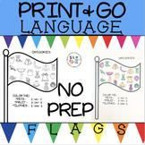 NO PREP FLAG LANGUAGE WORKSHEETS, SPEECH & LANGUAGE THERAPY