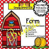 NO PREP Farm Math and Literacy Games Bundle