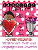 *NO PREP* February Learning Skills Pre-K4 and Kindergarten