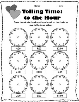 NO PREP February Math & Writing Printables! (1st Grade)