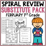 Sub Plans NO PREP Review Worksheets for February 1st Grade
