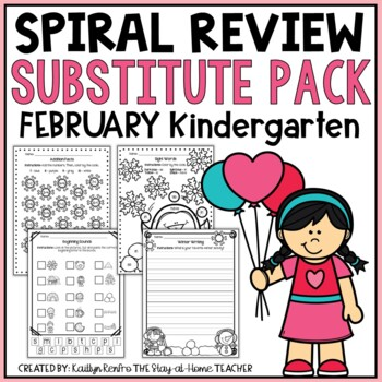 Sub Plans NO PREP Review Worksheets for February Kindergarten