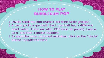 NO PREP First Day/Week of School Bubble Gum Pop Game
