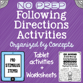 NO PREP Following Directions Interactive Tablet Activity + Printable Worksheets