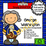 NO PREP George Washington Themed Math and Literacy Games Bundle