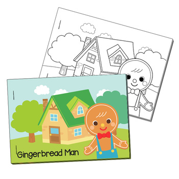 NO PREP! Gingerbread Man Fairy Tales Story and Coloring Book
