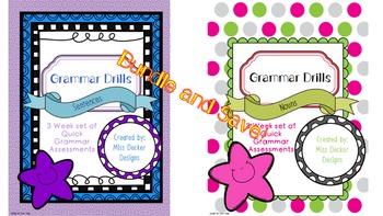 NO PREP- Grammar Drills - Sentences and Nouns BUNDLE