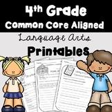 4th Grade ELA Language Arts Printables and Assessments (Co