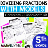 NO PREP Guided Math Lessons and Stations Dividing Fractions  TEKS 5.3J 5.3L