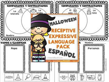 NO PREP HALLOWEEN Receptive & Expressive Language Pack (PK-1) SPANISH