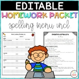 Homework Packet - Spelling Menu {EDITABLE}