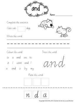 NO PREP High Frequency Words/Sight Words PRINTABLES