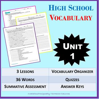 *NO PREP: High School Vocabulary (4 weeks) - 9th-10th Grade - (Unit 1)