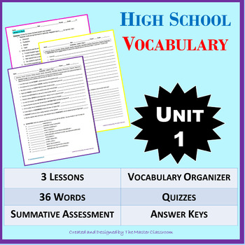 NO PREP High School Vocabulary (4 weeks) - Unit 1