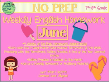 NO PREP Homework {June}:Idioms, Quotations, Words in Context, Editing
