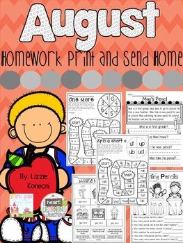 NO PREP Homework for August- First Grade
