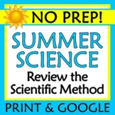 End of Year Summer Science Worksheet Activity Hypothesis Variables