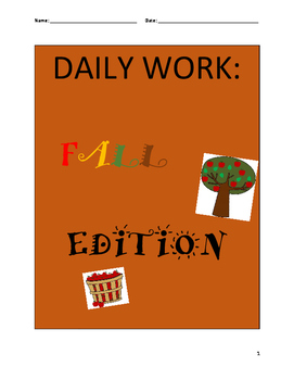 NO PREP INDEPENDENT DAILY WORK- Math and ELA (FALL THEME)