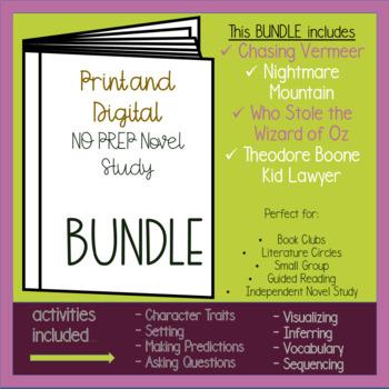 NO PREP Independent Novel Study - MYSTERY THEMED BUNDLE