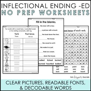 NO PREP Inflectional Ending -ED Worksheets