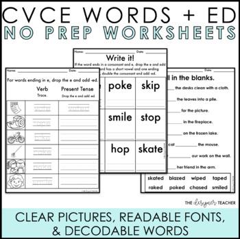 NO PREP Inflectional Ending -ED Worksheets (CVCe Words)