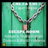 ⭐NO PREP Integers: Multiplying, Dividing & Word Problems E