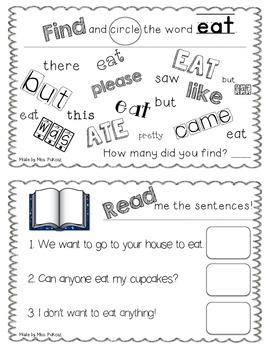NO PREP Interactive Sight Word Practice Book - EAT